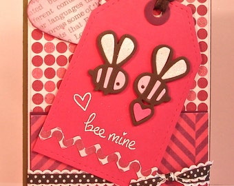 Bee Valentine Card with Bee Mine Sentiment and Die Cut Bumblebees