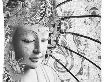 Black and White Buddha Tapestry - Bliss of Being - Zen Buddha Artwork on Lightweight Polyester Fabric