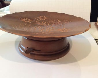 "Vintage ""REUGE"" Swiss Made Carved Flowers on a Wooden Cake Plate with Music Box, Floral carved Design"