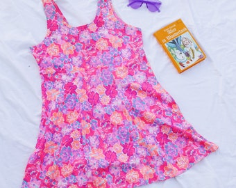 90s Floral Grunge Dress Baby Doll with Fluro Print Festival Party