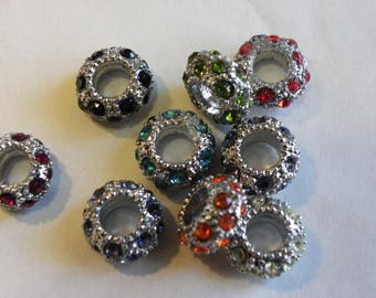 5 Silver brass rondelle beads with colored 11 mm swarovski crystal