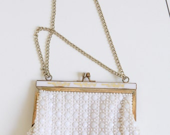 Beaded Fabric Bag with Adjustable Chain Strap