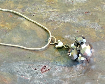 Hidden Mickey Necklace ~ Silver Faceted Crystal Bead Cluster ~ Recycled Mickey Mouse Bead Necklace - 19 inches