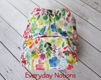 Cloth Diaper - Watercolor Flowers - One Size Pocket Cloth Diaper
