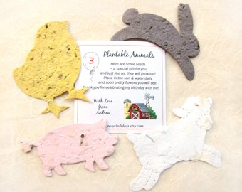 12 Farm Birthday Party Favors - Plantable Flower Seed Paper Farm Animals Cows Rabbits Pigs Chicks