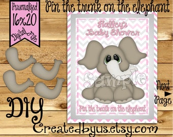 Pin the Trunk on the Elephant PRINTABLE party game Elephant Baby Shower Game ideas Pin the Tail DIY 16x20 Printable game poster Download