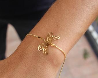 Dragonfly Bracelet, Tiny Bracelet, Charm Bracelet, Gold Bracelet, Minimalist Bracelet, Delicate Bracelet, Dainty Bracelet, Animal Bracelet