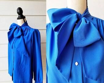 1970s Royal Blue Blouse || Tie Neck || Large