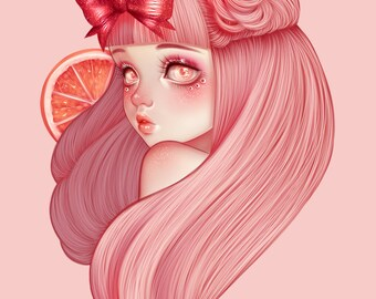"""Art Print """"Citrus"""" - Fruit Girl, Creepy Cute, Pastel Art, Wall Art, Pastel Goth, Kawaii, Outsider Art, Weird, Quirky Art"""