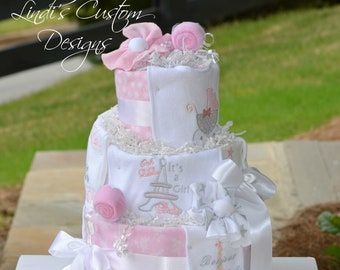 Girl Diaper Cake, Paris Eiffel Tower Ooh La La Baby Shower Diaper Cake Table Centerpiece Gift, Embroidered Pink Gray Diaper Cake Gift