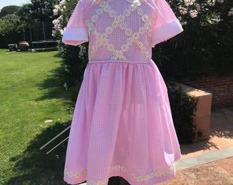 Girl's Pink Gingham and Daisy Dress