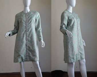 SUMMER SOLSTIC SALE 1960s Adele Simpson Aqua and Silver Brocade Dress Decorated with Rhinestones