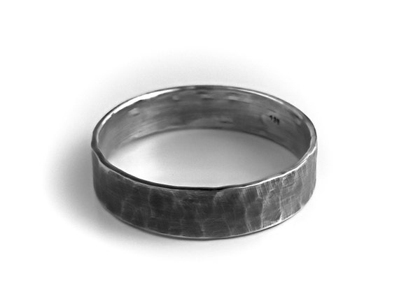 Men\'s Sterling Silver Ring Rustic Wedding Band Hammered