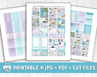 COFFEE & MACAROONS Printable Planner Stickers/for use with Erin Condren/Weekly Kit/Silhouette Cutfiles/Pastel Purple Bow Macarons Books