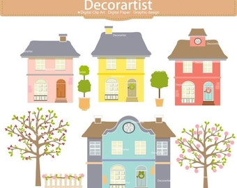 ON SALE House clipart, Summer tree clipart, summer house clipart, cherry tree clipart, INSTANT Download