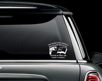 Gun & Bible 2nd Amendment Car Truck Van Window or Bumper Sticker Vinyl Decal