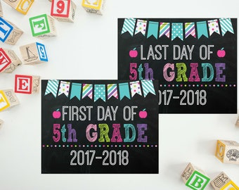 First Day Of 5th Grade Sign - Girls Back To School - Back 2 School Printable -  Last Day of 5th Grade - Print Yourself 8x10