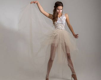 SALE BETSIBOKA High Couture Style Daring WEDDING Separate Short Embroidered Top and Long Sheer Tulle Skirt
