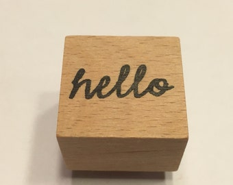 small hello rubber stamp, 22 mm (BB4/8)