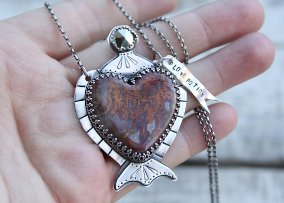 Laguna Lace Agate Potion Bottle With Pyrite Topper Love Drunk Collection