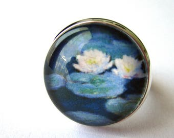 Ring cabochon 18 mm - Monet - blue water lilies