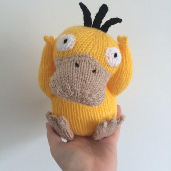 Psyduck Pokemon Knitting Pattern Soft Toy Pokemon Amigurumi Duck