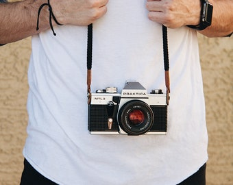Black Camera Strap Camera Neck Strap Rope Strap Leather Camera Strap Vintage Camera