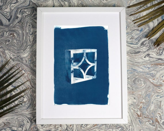 Trendy 3d Screen Block Brick, Cyanotype Print on Watercolor Paper, A4 size (Limited Edition)