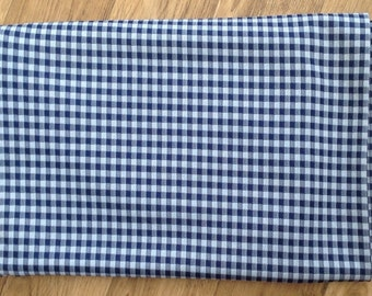 Retro Navy Blue Polyester Gingham, NOS