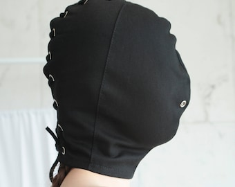 Black Bondage / BDSM / Blindfold Hood Face Mask