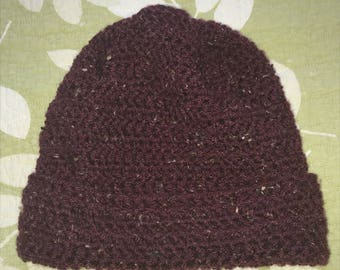 Hand Knit Adult Size Hat - Maroon Heather