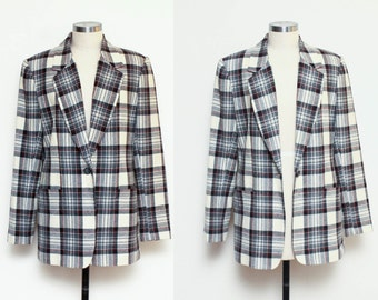 Vintage PLAID wool blazer // 1980s ladies white TARTAN jacket // size 8 medium lined blazer great condition
