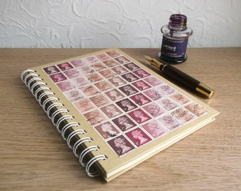 A5 Journal, Writer Gift | Upcycled Postage Stamp Writing Book | Spiral Lined A5 Notebook | Boho British stamp art | Cocoa Rose Memory Book