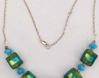Pressed glass and Amazonite necklace with Tribe silver spaces on a sterling silver chain.