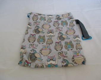 Medium Snap drawstring project bag- Owls, Owls, Owls