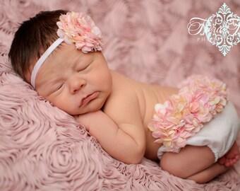 Diaper Cover Photo Prop Victorian Pink and Cream Hydrangea Diaper Cover Bloomer & Headband Spring, Summer, Newborn Girl, New Baby Photo Prop
