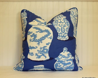 One or Both Sides - ONE Dana Gibson Canton Cobalt Pillow Cover with Self Cording