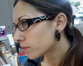 Fake Gauge Earrings -- SMART PRICE -- 1 Pair Exotic Organic Wooden - Black Wood Earrings - Sea Spirals - (By Fake Gauge Organics)