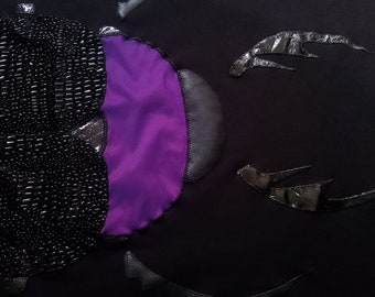 Black baby blanket. Black coverlet, for children, beetle, bug, scarab mat.