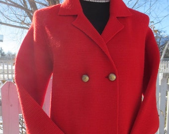 Vintage1960s Candy Apple Red Wool Double Breasted Cardigan Sweater by Woodwards
