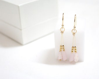 Bridal Earrings/Bridesmaid Earring/bridesmaid party/Valentines gift/anniversary gift/Dangle earring/gift for her/pink earrings/long earrings