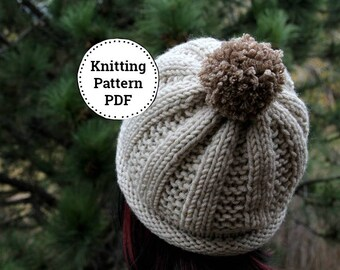 KNIT HAT PATTERN - Knitting Pattern - Knit Pattern - Beanie Pattern - Womens Knit Hat - Knit Hat Womens -  Abby Hat Pattern