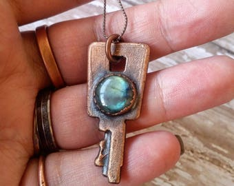 Vintage Key with Labradorite Copper Healing Necklace. Electroformed pendant. Unique Crystal Jewelry.