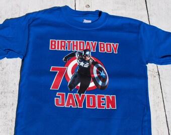 Captain America Birthday Personalized T Shirt ~ Superhero, marvel, comic, avengers
