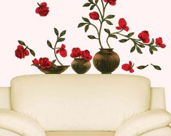 Red Floral Vase Wall Decal
