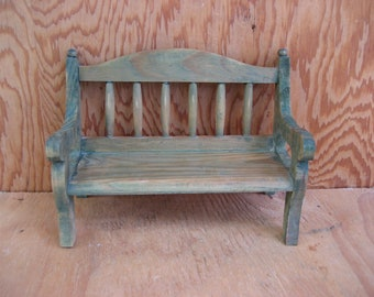 Vintage miniature wood bench, wooden bench, doll bench, doll furniture, dispaly