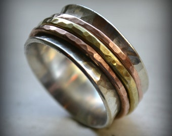 Unisex wedding band, sterling silver, copper and brass ring - handmade artisan designed wedding or engagement band, spinner ring customized