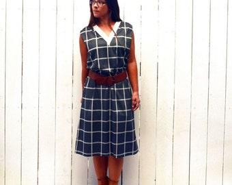 Checker Print Dress 50s Mid Century Black White Window Box Print Vintage Sleeveless Day Dress Large L / Extra Large XL