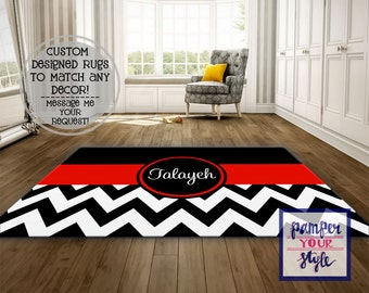 Personalized Area Rug   Black And Red Chevron Custom Rug   Area Rug 4x5 Living  Room