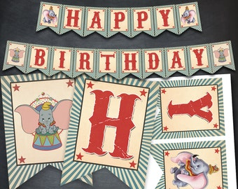 Dumbo Banner, Dumbo Birthday Banner, Dumbo Party, Dumbo Printables, Dumbo Birthday Favors, Flags Banner, diy banner, Happy Birthday Banner